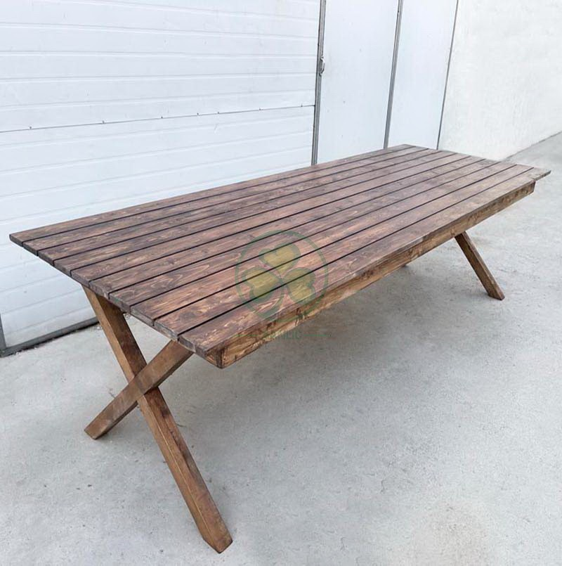 Wood Farmhouse Table for Events and Weddings  006
